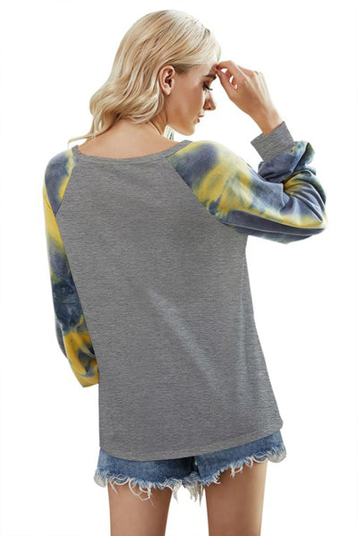 TIE DYE LONG SLEEVE FASHION TOP