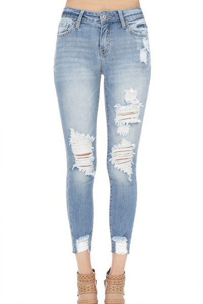 MID RISE ALMOST GIRLFRIEND RIPPED JEANS