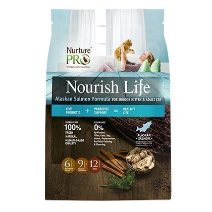 Nurture Pro Nourish Life Alaskan Salmon Formula For Indoor Kitten & Adult Cat Dry Food Medium 4lb ( 1.8kg )