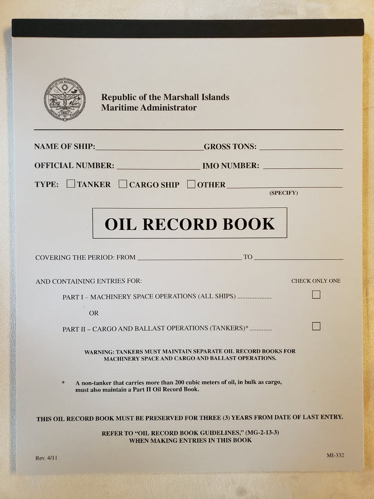 Oil Record Book by Republic of the Marshall Islands Maritime Administrator