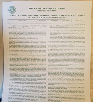 Articles of Agreement Between the Master and Seafarer in the Merchant Service of the Republic of the Marshall Islands