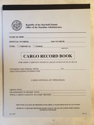 Cargo Record Book by Republic of the Marshall Islands Office of the Maritime Administrator