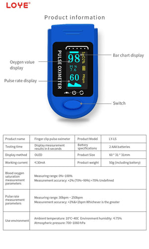 Finger Pulse Oximeter SpO2 FDA Approved