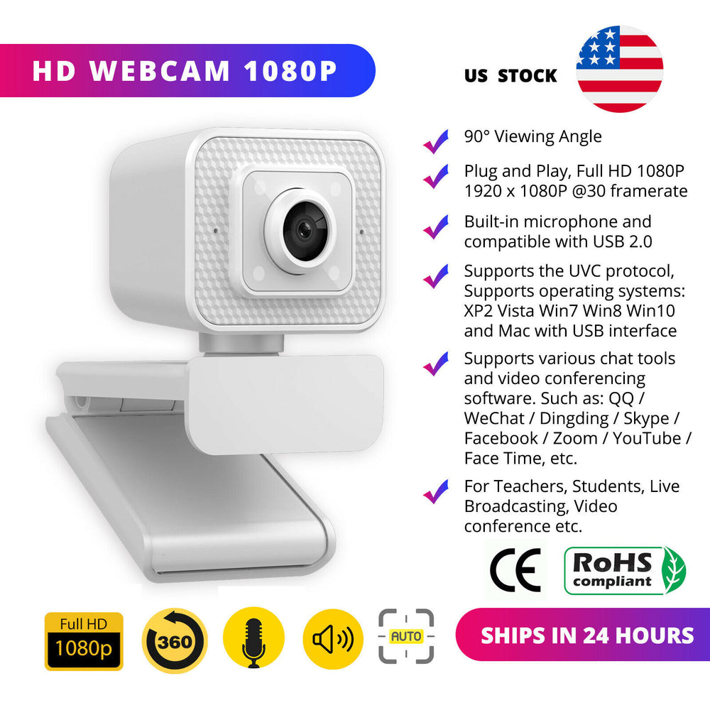 HD 1080P Webcam Auto Focusing Web Camera Cam W/ Microphone For PC Laptop Desktop