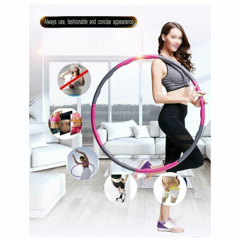 Hoola Hoop Folding Fitness Weighted Hula Hoops 1kg 8 Sections for Exercise
