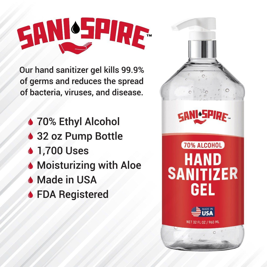 Sani-Spire Hand Sanitizer Gel, Red Label, 32 oz