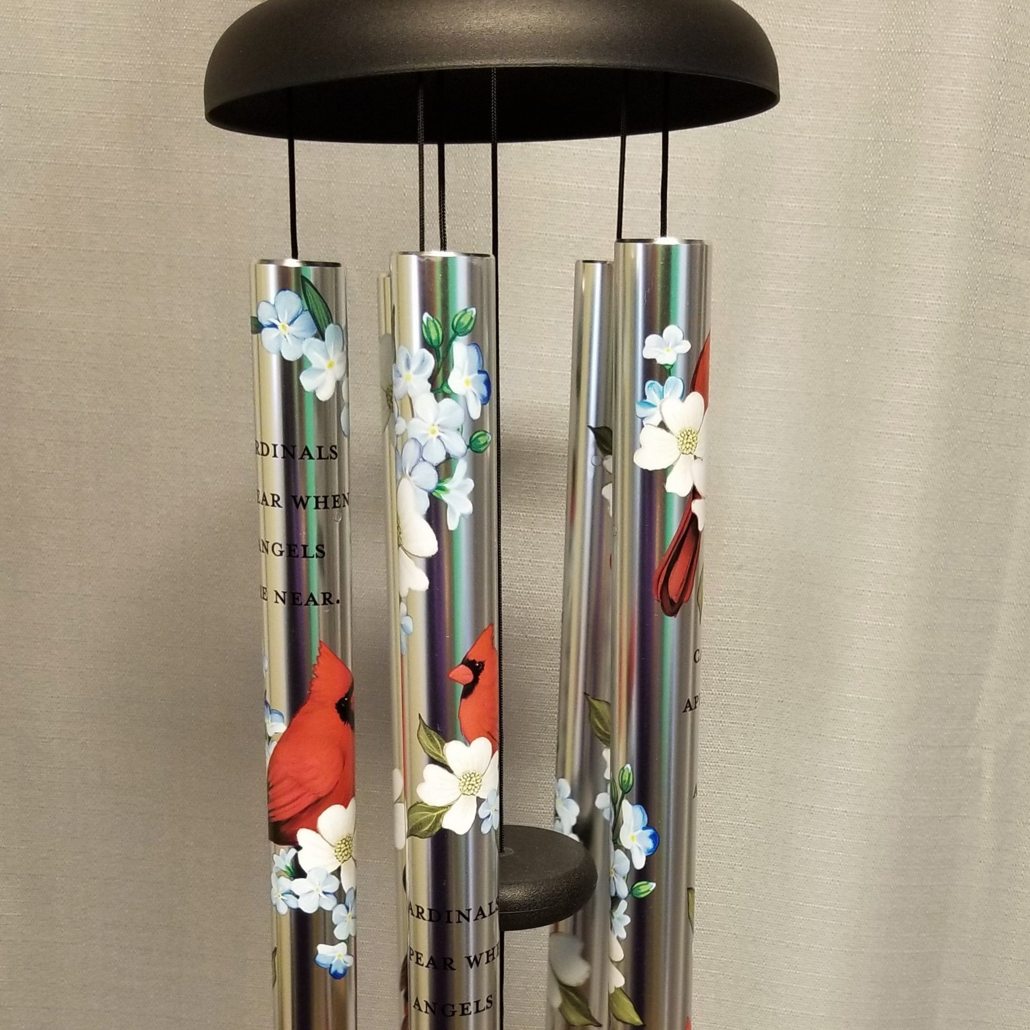 "38"" Cardinals Appear Windchime - on display easel"