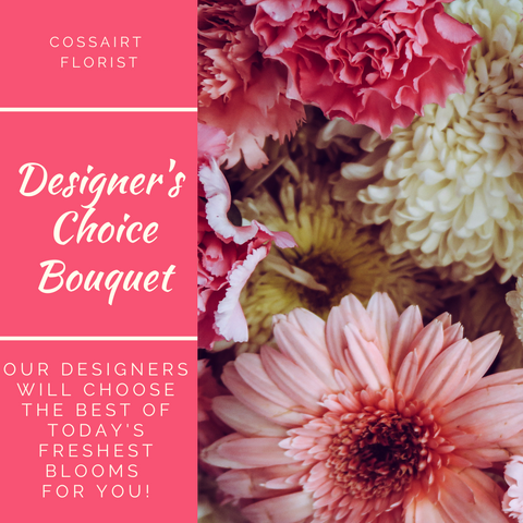 Designer's Choice Bouquet graphic with a close up image of flower bouquet of assorted pastel pink, white, and yellow flowers