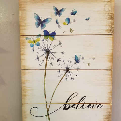 Wooden Believe Sign - Blue Butterflies