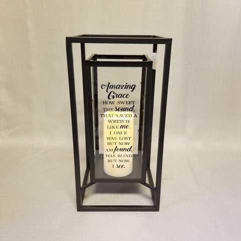 Amazing Grace Metal Lantern