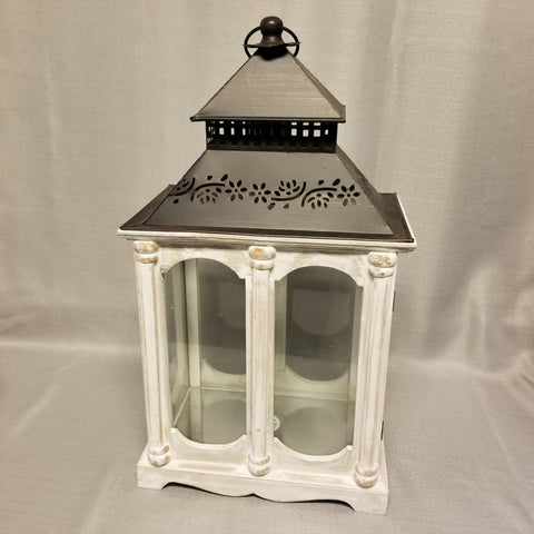 White Wooden Lantern with Metal Roof