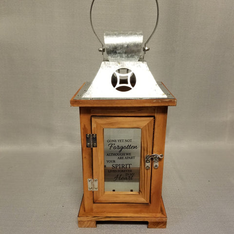 "Brown wooden lantern with silver metal roof and handle, front of lantern reads ""Gone yet not forgotten although we are apart, your spirit lives forever in my heart"""