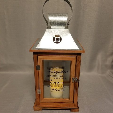Gone Yet Not Forgotten Lantern - large, wooden