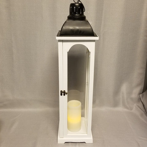 White Wooden Lantern - tall