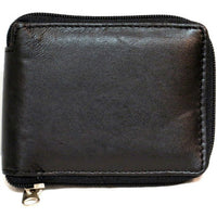 Genuine Leather Lambskin Zip Around Wallet- BLACK- 4121