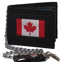 Genuine Leather Men's Wallet with Canada Flag with chain - 4243-C