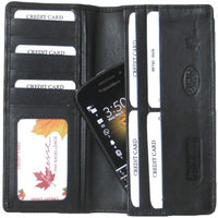 Genuine Cowhide Leather Breast / Coat RFID Card Wallet with Phone pocket # 4608R