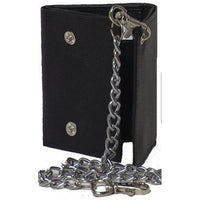 Genuine Leather Cowhide Men's Trifold Wallet with Chain - 4654