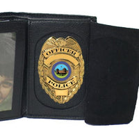 Elegant Faux Leather Badge Wallet for Firefighters, Police - 4722