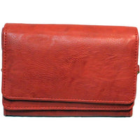 Elegant Leather Women's SHOULDER BAG with Organizer Black, Red and Brown #7045