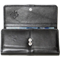 Genuine Lambskin Leather Ladies Wallet BLACK # 7295