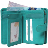 Genuine Cowhide Leather Ladies Medium RFID Wallet # 7549R