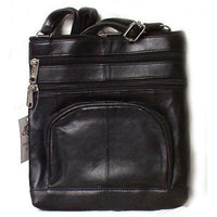 Genuine Lambskin Leather Women's Slim Cross Body Bag with Organizer BLACK- # 8079