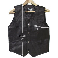 GENUINE COWHIDE LEATHER CHILDREN VEST BLACK # 9660