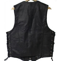 Genuine Cowhide Leather Biker's Vest Black # - 9692