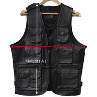Genuine Leather Men's 13 Pocket Cargo Vest - 9695