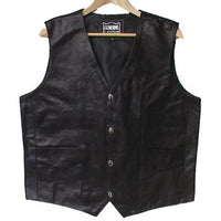 Genuine Cowhide Leather Biker's Plain Vest Black - # 9698