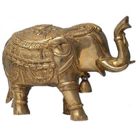 BRASS HAND CARVED ELEPHANT 12 INCHES