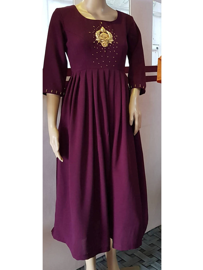 Wine Red Rayon Anarkali Top