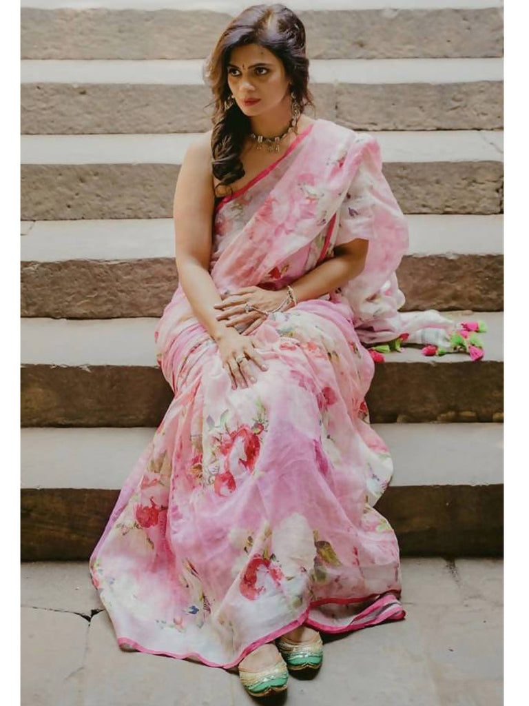 Handwoven Linen Rose Colour Saree
