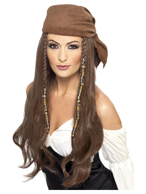 Pirate Wig, Long, Brown. Bandana, Beads and Charms included. Just because your a Pirate does not mean you don't need the beautiful hair to create this look!