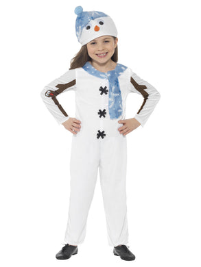 This white Snowman jumpsuit comes with blue scarf detail, black button detail, brown stick arm detail, and a blue hat with a pompom on top, googly eyes and carrot nose.