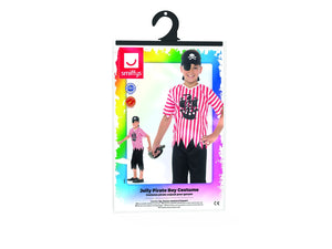 Pirate Boy Jolly Costume White and Red Top with Trousers, Bandana and Eyepatch.