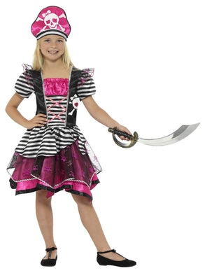 Perfect Pirate Girl Costume, Black and Pink with Hat.