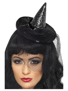 Mini Witches Hat, Black, Glittered on Headband with Netting.