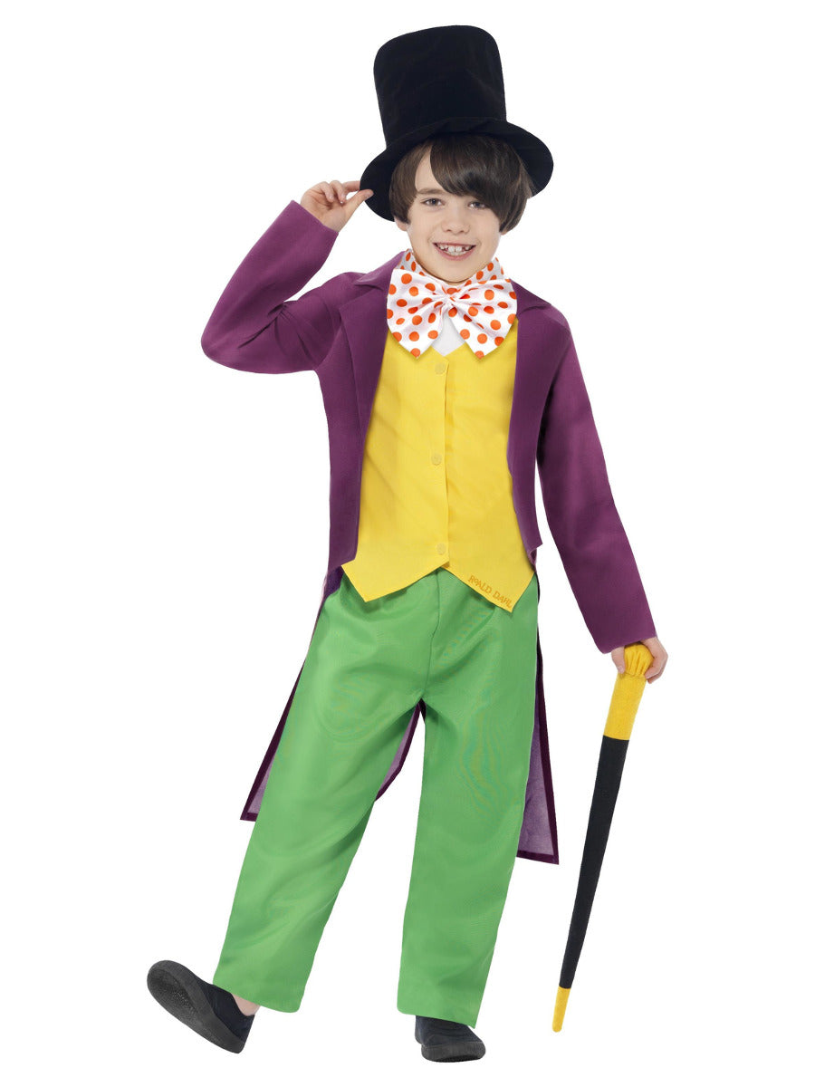Children's Fancy Dress Roald Dahl Willy Wonka Costume, Green & Yellow, with Top, Trousers, Bow Tie, Hat & Cane
