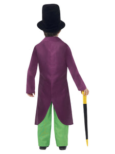 Children's Roald Dahl Willy Wonka Costume, Green & Yellow, with Top, Trousers, Bow Tie, Hat & Cane