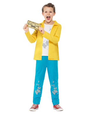 Boys Roald Dahl Charlie Bucket Costume, Yellow, with Top, Trousers & Golden Ticket