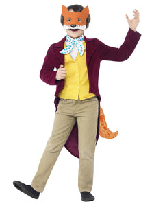 Roald Dahl Children's Fantastic Mr Fox Costume, Burgundy, with Jacket, Tail, Waistcoat, Mask & Cravat