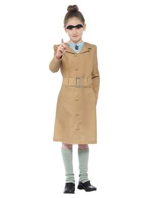Girl's Roald Dahl Miss Trunchbull Costume, Beige, with Dress, Leg Warmers & Eye Brows