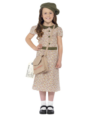 Evacuee Girl Costume, Patterned, with Dress, Satchel, ID Tag & Beret