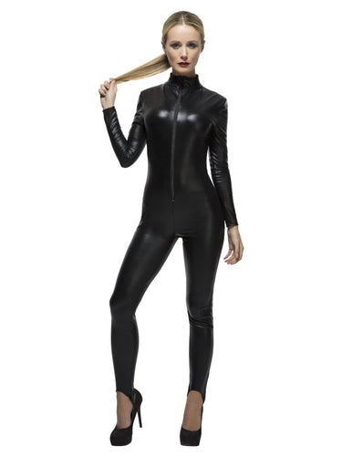 Fever Miss Whiplash Costume, Black Zip up Catsuit.  This Adult wet look, zip up Catsuit is sure to have you dominate the night