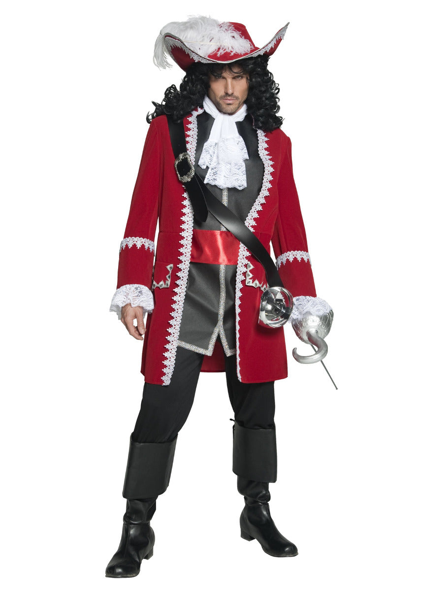 Deluxe, Authentic Pirate Captain Costume. Red Jacket, Trousers Top attached Belt and Cravat.