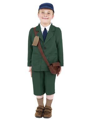 World War II Evacuee Boy Costume, Green, Coat, Trousers, Hat and Bag