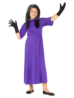 Children's Fancy Dress Roald Dahl The Witches Costume, Purple, with Dress, Wig & Gloves