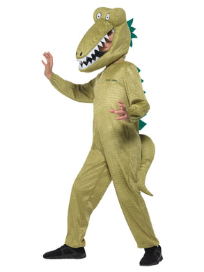 Children's Roald Dahl Deluxe Enormous Crocodile Costume, Green, with Jumpsuit and Character Hood